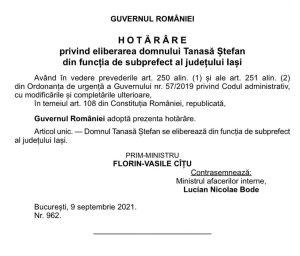 hotarare demitere Stefan Tanasa